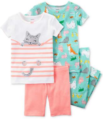 Carter's 4-Pc. Pet-Print Cotton Pajama Set, Baby Girls