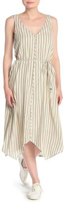 Splendid Striped Tie Waist Asymmetrical Hem Midi Dress