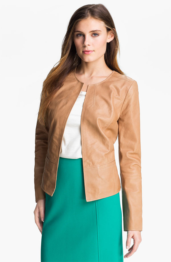 Halogen Open Front Leather Jacket