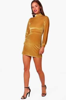 boohoo Petite High Neck Velvet Shift Dress