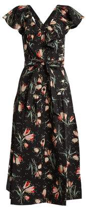 Rebecca Taylor - Ikat Floral Print Cotton Dress - Womens - Black Print