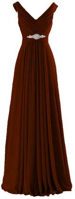 CaliaDress Women A Line Ruffles Long Prom Formal Gowns Bridesmaid Dress C160LF US