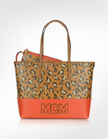 MCM Shopper Project - Leopard Print Logo EW Medium Tote