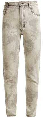 Eckhaus Latta Bleached High Rise Straight Leg Jeans - Womens - Light Grey