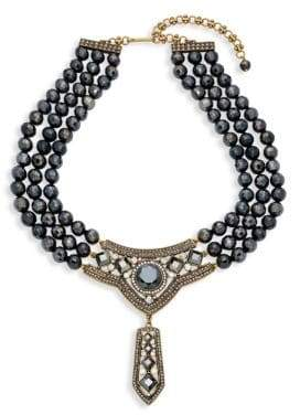 Heidi Daus Triple-Strand Beaded Bib Necklace