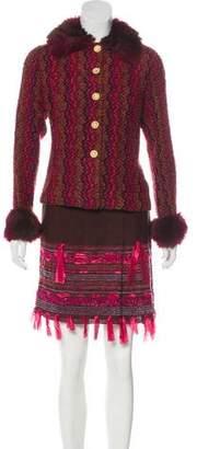 Anna Sui Faux Fur-Trimmed Knee-Length Skirt Set