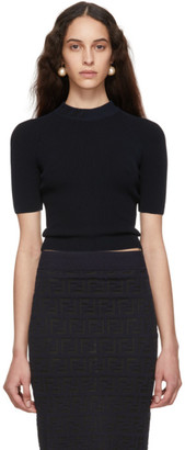 Fendi Navy Forever Short Sleeve Sweater