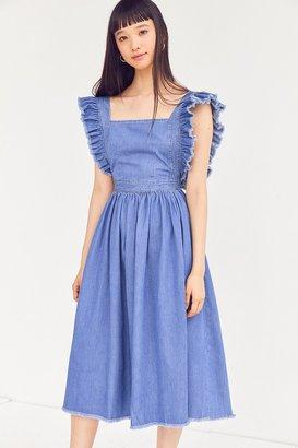 Kimchi Blue Denim Ruffle Apron Midi Dress $79 thestylecure.com