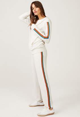 Monrow Super Soft Elastic Waist Sweatpants With Rainbow Stripes