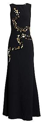 Roberto Cavalli Women's Silk Satin& Tulle Embellished Gown