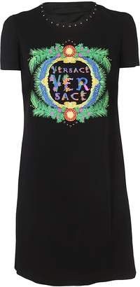 Versace Embroidered Logo Dress
