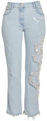 Balmain Faux Pearl Embroidered Washed Straight-Leg Jeans