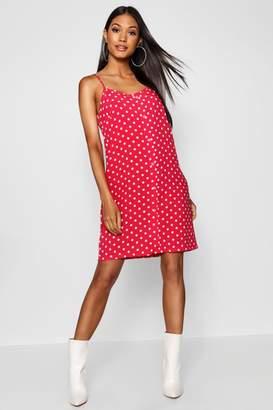 boohoo Polka Dot Button Through Cami Mini Dress