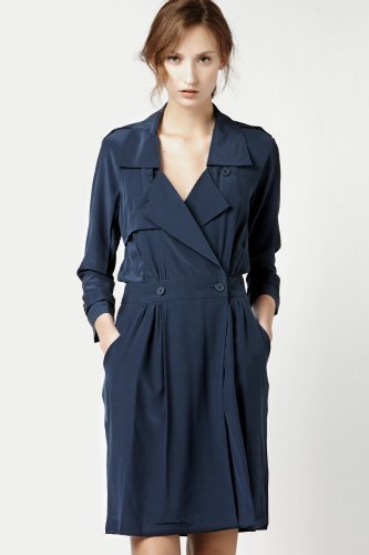 3/4 Sleeve Crepe Silk Trench Dress
