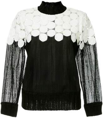 Sea embroidered panelled blouse