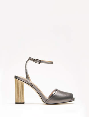 Halston Kathy Metallic Ankle Strap Wooden High Heel