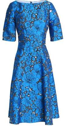Lela Rose Flared Floral-Jacquard Dress