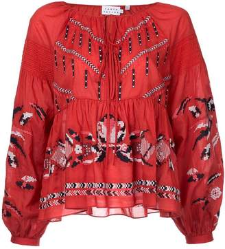 Tanya Taylor embroidered peasant blouse
