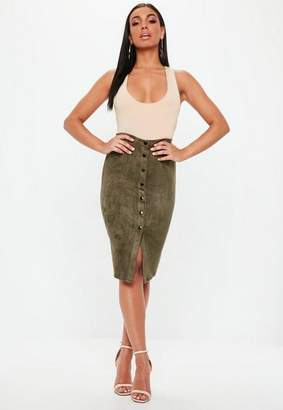 Missguided Button Through Faux Suede Midi Skirt Khaki