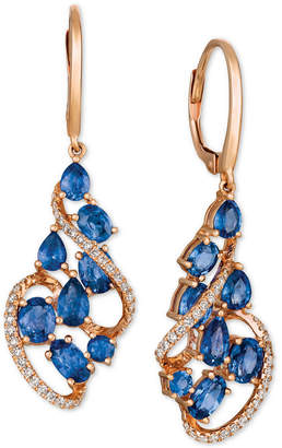 LeVian Le Vian Blueberry Sapphire (3-1/4 ct. t.w.) & Diamond (1/3 ct. t.w.) Drop Earrings in 14k Rose Gold