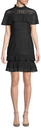 Monique Lhuillier Ruffle Shoulder Cocktail Dress