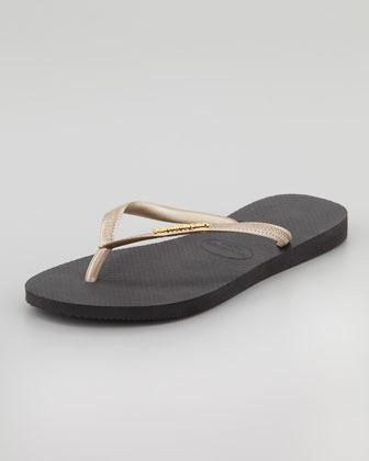Havaianas Slim Logo Flip-Flop, Black