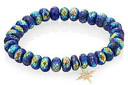 Sydney Evan Lapis, Diamond& 14K Gold Rondelle Starburst Bracelet