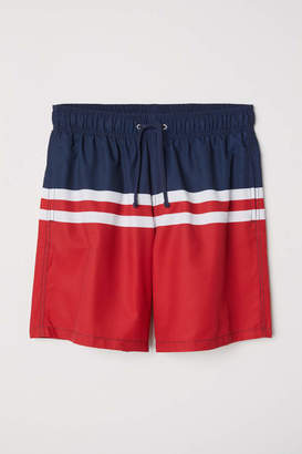 H&M Knee-length Swim Shorts - Dark blue/color-block - Men