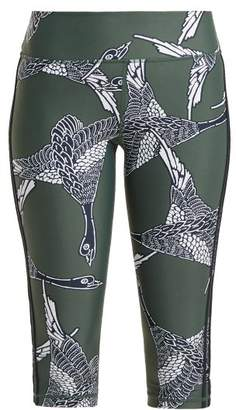 The Upside Mallard Print Cropped Leggings - Womens - Green Multi
