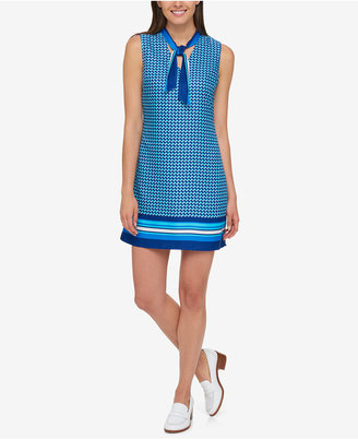 Tommy Hilfiger Mixed-Print Tie-Neck Dress, Created for Macy's $99.50 thestylecure.com