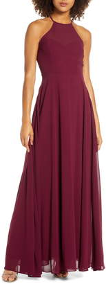 Lulus Night of Romance Halter Neck Chiffon Gown