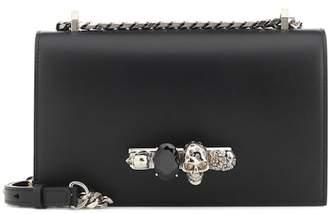Alexander McQueen Skull crystal leather shoulder bag