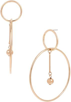 BCBGeneration Winter Metals Rose Goldtone Double Circle Drop Earrings