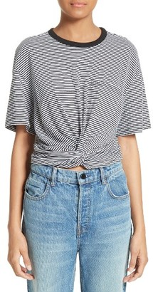 Women's T By Alexander Wang Stripe Twist Front Tee $175 thestylecure.com