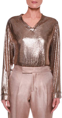 Tom Ford Slouchy Chainmail V-Neck Top