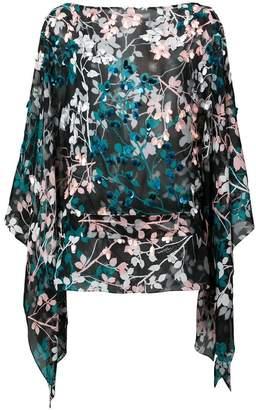 Roberto Cavalli floral silk sheer blouse