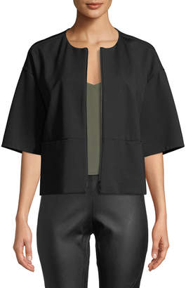 Lafayette 148 New York Cropped Half-Sleeve Zip-Front Jacket