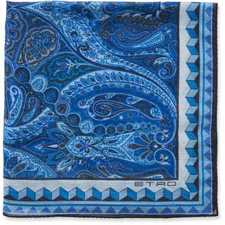 Etro Men's Bangalore Paisley Linen/Silk Pocket Square