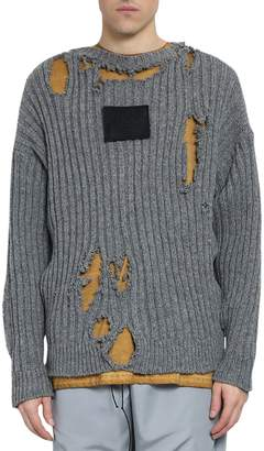 A-Cold-Wall* A Cold Wall Distressed Slate Wool Sweater