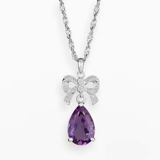Sterling Silver Amethyst & Diamond Accent Bow Pendant