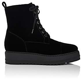 Barneys New York Women's Velvet Platform-Wedge Ankle Boots-Black
