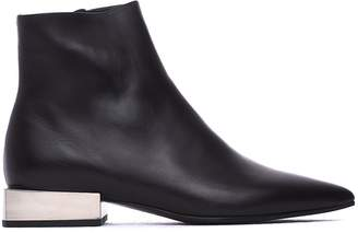 Vic Matié Leather Heeled Ankle Boots With Metallic Block Heel