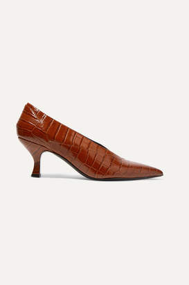 Erdem Rafaella Glossed Croc-effect Leather Pumps
