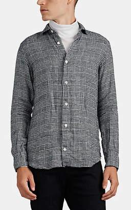 Eleventy Men's Glen Plaid Linen Flannel Shirt - Gray Pat.