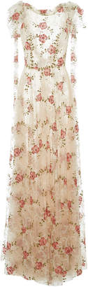 Luisa Beccaria Tulle Embroidered Floral Long Dress