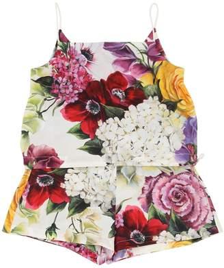 Dolce & Gabbana Floral Print Cotton Poplin Top & Shorts