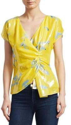 Tanya Taylor Draped Metallic Blouse