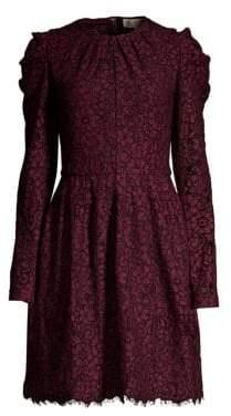 MICHAEL Michael Kors Mesh Floral Lace Long-Sleeve A-Line Dress
