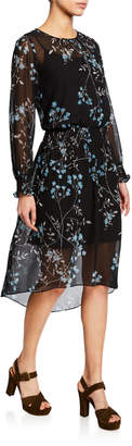 Kensie Frosted Blooms High-Low A-Line Dress