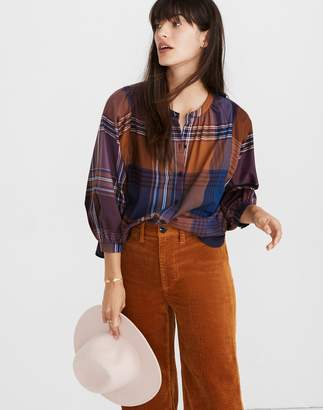Madewell Plaid Peasant Top